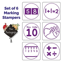 Pedagogs Marking Stampers - Numeracy - Set of 6 (25mm - Purple ink)