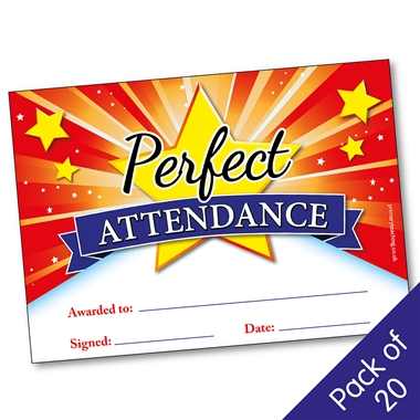 Perfect Attendance Certificates (20 Certificates - A5)