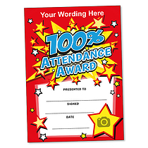 Personalised 100% Attendance Award Certificate (A5) Brainwaves