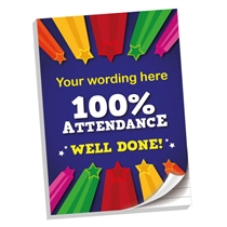 Personalised 100% Attendance Notepad (A4, 50 Pages, Lined)
