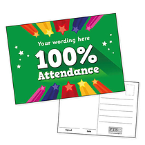 Personalised 100% Attendance Postcard (A6)