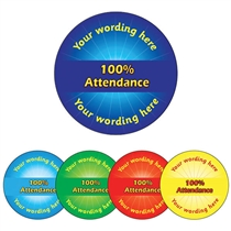 Personalised 100% Attendance Stickers (70 per sheet - 25mm)