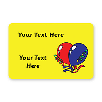 Personalised Balloons Stickers - Yellow (32 per sheet - 46mm x 30mm)
