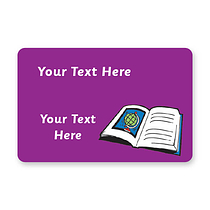 Personalised Book Stickers - Purple (32 per sheet - 46mm x 30mm)