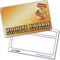 Personalised Bronze Award Plastic CertifiCARD (Wallet Size Card)