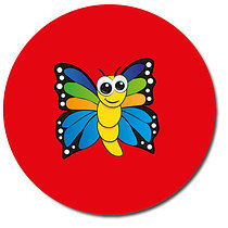 Personalised Butterfly Stickers - Red (35 per sheet - 37mm)