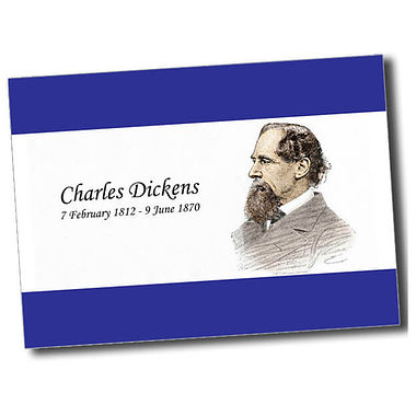 Personalised Charles Dickens Postcard - Blue (A6)