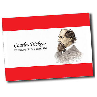 Personalised Charles Dickens Postcard - Red (A6)
