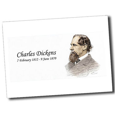 Personalised Charles Dickens Postcard - White (A6)
