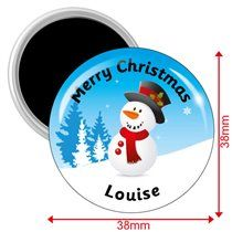 Personalised Christmas Snowman Magnets (10 Magnets - 38mm)