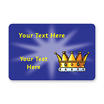 Personalised Crown Stickers - Blue (32 per sheet - 46mm x 30mm)