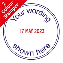 Personalised Date 2 Colour Stamper - Blue & Red Ink (38mm)