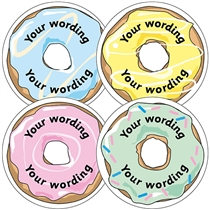 Personalised Doughnut Stickers (35 Stickers - 37mm)