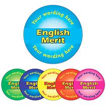 Personalised English Merit Sticker (70 per sheet - 25mm)
