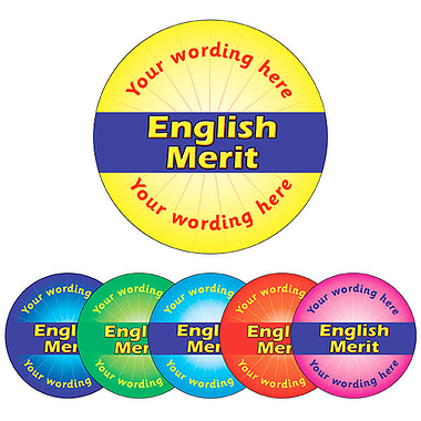 Personalised English Merit Sticker (70 per sheet - 25mm)