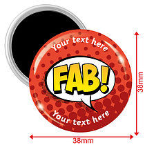 Personalised Fab Magnets - Red (10 Magnets - 38mm)