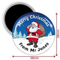 Personalised Father Christmas Magnets - (10 Magnets - 38mm)