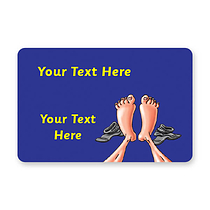 Personalised Feet Stickers - Blue (32 per sheet - 46mm x 30mm)