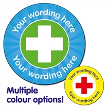 Personalised First Aid Stickers (35 per sheet - 37mm)