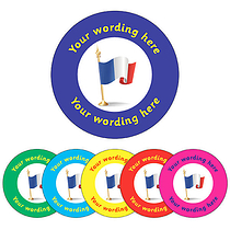 Personalised French Flag Stickers (70 per sheet - 25mm)