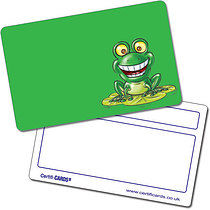 Personalised Frog Plastic Certificard (86mm x 54mm)