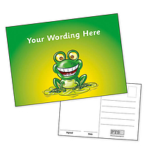 Personalised Green Frog Postcard (A6 in size)