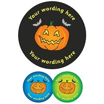 Personalised Halloween Pumpkin Stickers (35 per sheet - 37mm)
