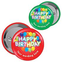 Personalised Happy Birthday Badges (10 Badges)
