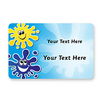 Personalised Happy Splash Stickers (32 Stickers - 46mm x 30mm)