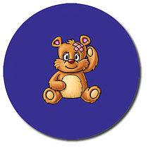 Personalised Head Bump Bear Stickers (35 per sheet - 37mm)