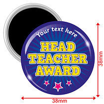 Personalised Head Teacher Award Magnets - Blue (10 Magnets - 38mm)