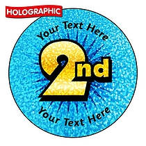 Personalised Holographic 2nd Stickers (72 Stickers - 35mm)
