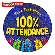 Personalised Holographic Attendance Award Stickers (72 Stickers - 35mm)