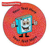 Personalised Holographic Book Stickers (72 Stickers - 35mm)
