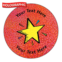 Personalised Holographic Bright Star Stickers (72 Stickers - 35mm)