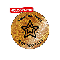 Personalised Holographic Bronze Star Stickers (70 Stickers - 25mm)