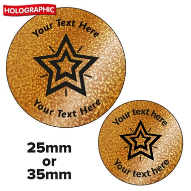 Personalised Holographic Bronze Star Stickers