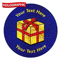 Personalised Holographic Christmas Present Stickers (72 Stickers - 35mm)