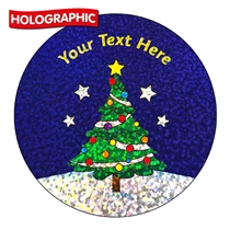 Personalised Holographic Christmas Tree Stickers (72 Stickers - 35mm)