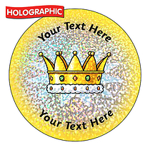 Personalised Holographic Gold Crown Stickers (72 Stickers - 35mm)