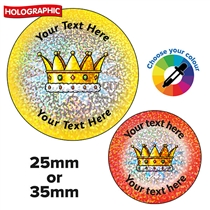 Personalised Holographic Gold Crown Stickers