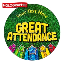 Personalised Holographic Great Attendance Award Stickers (72 Stickers - 35mm)
