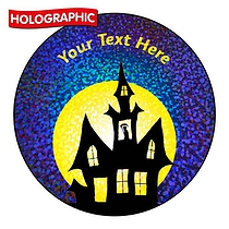 Personalised Holographic Halloween Haunted House Stickers (72 Stickers - 35mm)