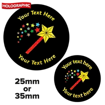 Personalised Holographic Magic Wand Stickers