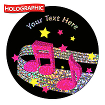 Personalised Holographic Music Stickers (72 Stickers - 35mm)