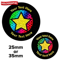 Personalised Holographic Neon Star Stickers