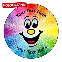 Personalised Holographic Rainbow Smiley Stickers (72 Stickers - 35mm)