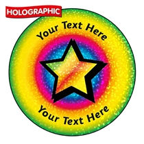 Personalised Holographic Rainbow Star Burst Stickers (72 Stickers - 35mm)