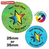 Personalised Holographic Rainbow Star Stickers (2 Sizes available)
