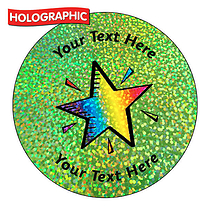 Personalised Holographic Rainbow Star Stickers (72 Stickers - 35mm)